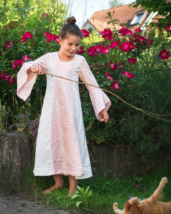 Mittelalterkleid aus Taft und Baumwolle für Kinder Modell Frida