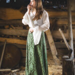 Baumwollbluse mit Trompetenärmel Modell Lara