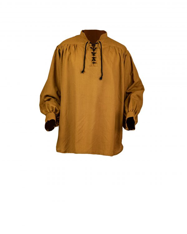 Schnürhemd aus einem Hanf/Baumwollstoff mit Schlaufen am Ausschnitt Modell Alexander