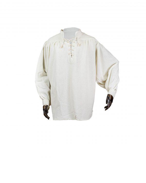 Robustes Stehkragenhemd aus schwerer gewebter Baumwolle Modell Manni