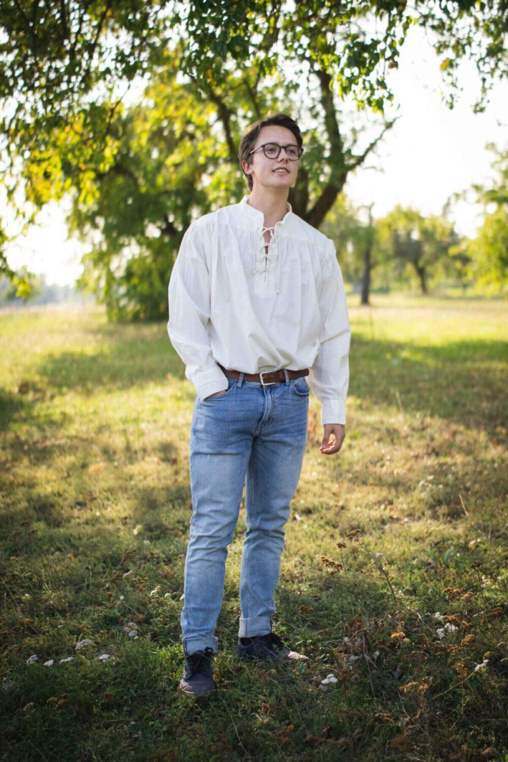 Legeres Stehkragenhemd mit schmalem Ärmelschnitt Modell Adrian