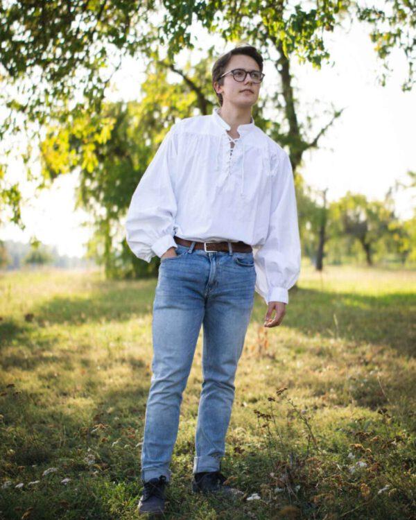 Stehkragenhemd aus leichter Baumwolle Modell Konrad