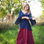 Historische Bluse mit weit fallenden Ärmeln Modell Maja