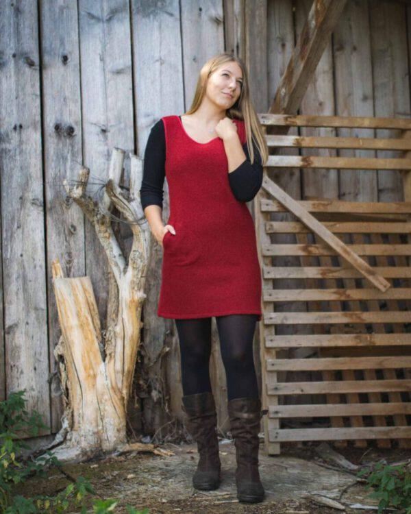 Trägerkleid aus Wollwalk Modell Marie
